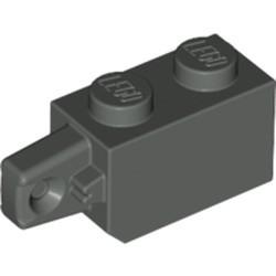 Dark Gray Hinge Brick 1 x 2 Locking with 1 Finger Vertical End