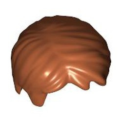 Dark Orange Minifigure, Hair Short Tousled with Side Part