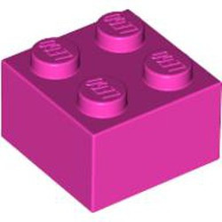 Dark Pink Brick 2 x 2 - new