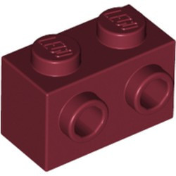 Dark Red Brick, Modified 1 x 2 with Studs on 1 Side - new