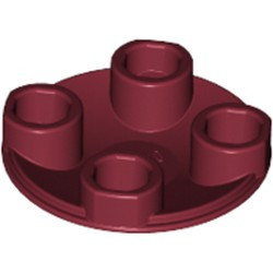 Dark Red Plate, Round 2 x 2 with Rounded Bottom (Boat Stud) - new