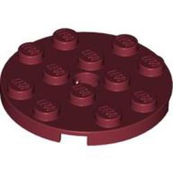 Dark Red Plate, Round 4 x 4 with Hole