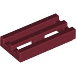 Dark Red Tile, Modified 1 x 2 Grille with Bottom Groove / Lip