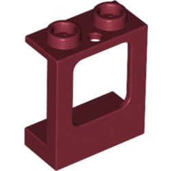 Dark Red Window 1 x 2 x 2 Plane, Single Hole Top and Bottom for Glass
