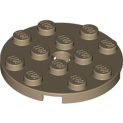 Dark Tan Plate, Round 4 x 4 with Hole - new
