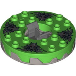 Flat Silver Turntable 6 x 6 Round Base Serrated with Bright Green Top and Dark Bluish Gray Stone Heads Pattern (Ninjago Spinner) - used