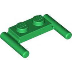 Green Plate, Modified 1 x 2 with Bar Handles - Flat Ends, Low Attachment - used