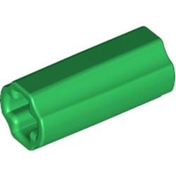 Green Technic, Axle Connector 2L (Smooth with x Hole + Orientation) - used
