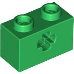 Green Technic, Brick 1 x 2 with Axle Hole - used