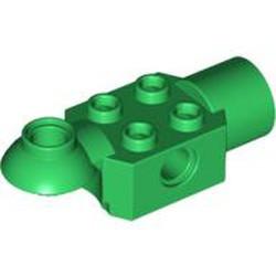 Green Technic, Brick Modified 2 x 2 with Pin Hole, Rotation Joint Ball Half (Horizontal Top), Rotation Joint Socket