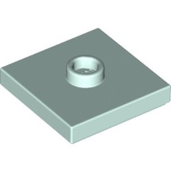 Light Aqua Plate, Modified 2 x 2 with Groove and 1 Stud in Center (Jumper) - new