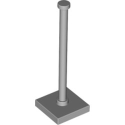 Light Bluish Gray Support 2 x 2 x 5 Bar on Tile Base with Solid Stud and Stop Ring