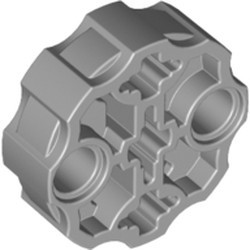 Light Bluish Gray Technic, Axle Connector Block Round with 2 Pin Holes and 3 Axle Holes (Hero Factory Weapon Barrel) - used