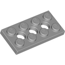 Light Bluish Gray Technic, Plate 2 x 4 with 3 Holes - used