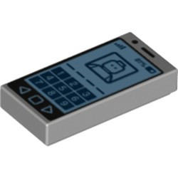 Light Bluish Gray Tile 1 x 2 with Groove with Cell Phone with '81%' and Minifigure on Screen Pattern - new