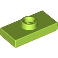 Lime Plate, Modified 1 x 2 with 1 Stud with Groove (Jumper) **I make no difference between with without groove! and item 15573**- used
