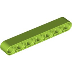 Lime Technic, Liftarm 1 x 7 Thick - new