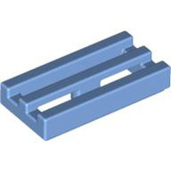 Medium Blue Tile, Modified 1 x 2 Grille with Bottom Groove / Lip - used