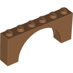Medium Nougat Brick, Arch 1 x 6 x 2 - Medium Thick Top without Reinforced Underside - new