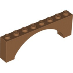 Medium Nougat Brick, Arch 1 x 8 x 2 Raised Arch - new