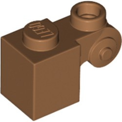 Medium Nougat Brick, Modified 1 x 1 with Scroll with Hollow Stud