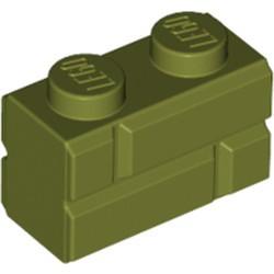 Olive Green Brick, Modified 1 x 2 with Masonry Profile (Brick Profile) - new