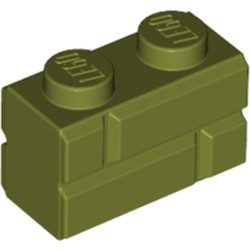 Olive Green Brick, Modified 1 x 2 with Masonry Profile