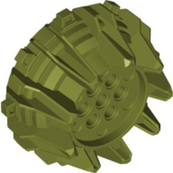 Olive Green Wheel Hard Plastic with Small Cleats and Flanges - used