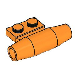 Orange Engine, Smooth Small, 1 x 2 Side Plate with Axle Holders