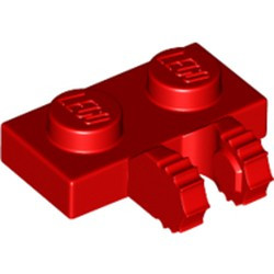 Red Hinge Plate 1 x 2 Locking with 2 Fingers on Side and 7 Teeth
