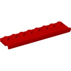 Red Plate, Modified 2 x 8 with Door Rail - used