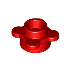 Red Plate, Round 1 x 1 with Flower Edge (4 Knobs / Petals) - used
