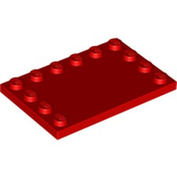 Red Tile, Modified 4 x 6 with Studs on Edges