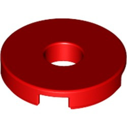 Red Tile, Round 2 x 2 with Hole - new