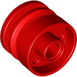 Red Wheel 18mm D. x 14mm with Pin Hole, Fake Bolts and Shallow Spokes