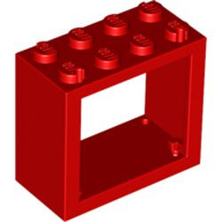 Red Window 2 x 4 x 3 Frame - Solid Studs