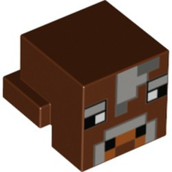 Reddish Brown Creature Head Pixelated with Light Bluish Gray and Dark Bluish Gray Face Pattern (Minecraft Cow) - used