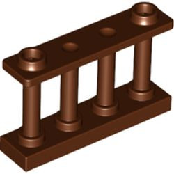 Reddish Brown Fence 1 x 4 x 2 Spindled with 2 Studs