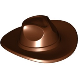 Reddish Brown Minifigure, Headgear Hat, Very Wide Brim, Outback Style (Fedora) - used