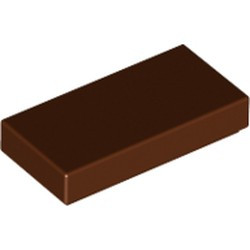 Reddish Brown Tile 1 x 2 with Groove - used