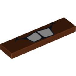 Reddish Brown Tile 1 x 4 with Teeth Pattern