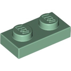 Sand Green Plate 1 x 2 - new