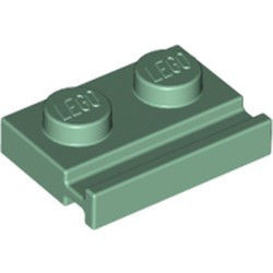 Sand Green Plate, Modified 1 x 2 with Door Rail