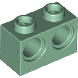 Sand Green Technic, Brick 1 x 2 with Holes - new