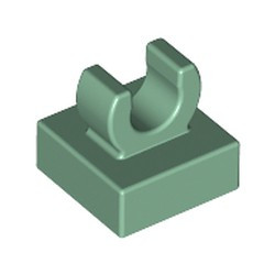 Sand Green Tile, Modified 1 x 1 with Open O Clip - used