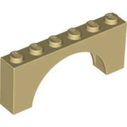 Tan Arch 1 x 6 x 2 - Thick Top with Reinforced Underside