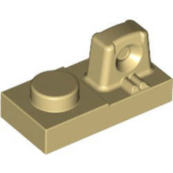 Tan Hinge Plate 1 x 2 Locking with 1 Finger On Top