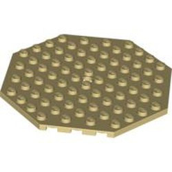 Tan Plate, Modified 10 x 10 Octagonal with Hole - used