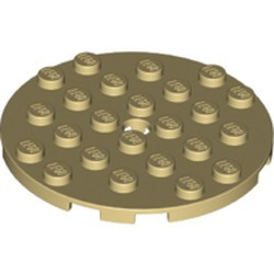 Tan Plate, Round 6 x 6 with Hole - new