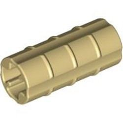 Tan Technic, Axle Connector 2L (Ridged with x Hole x Orientation) - used